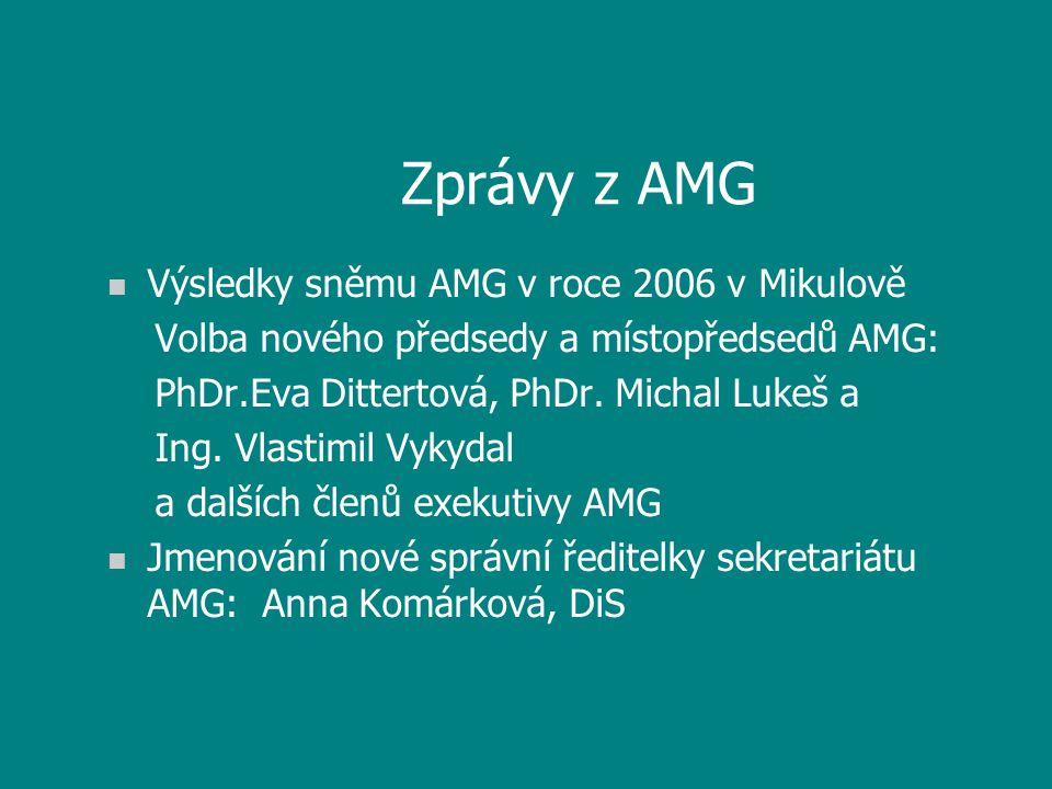Zprávy z AMG n Výsledky sněmu AMG v roce 2006 v Mikulově Volba nového předsedy a místopředsedů AMG: PhDr.Eva Dittertová, PhDr. Michal Lukeš a Ing. Vla