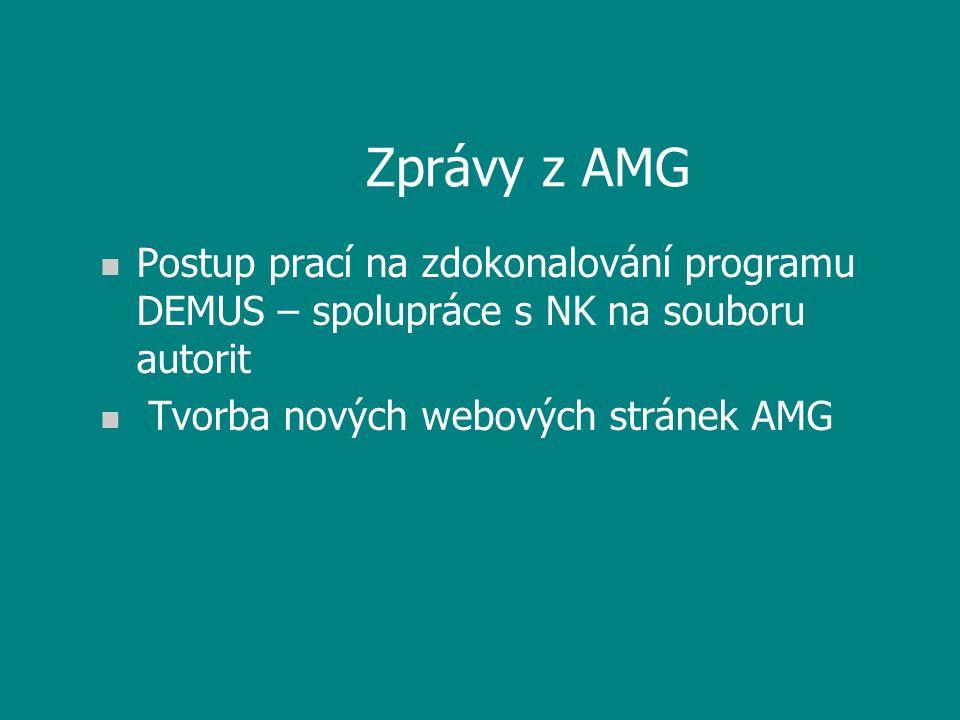 Zprávy z AMG n Postup prací na zdokonalování programu DEMUS – spolupráce s NK na souboru autorit n Tvorba nových webových stránek AMG