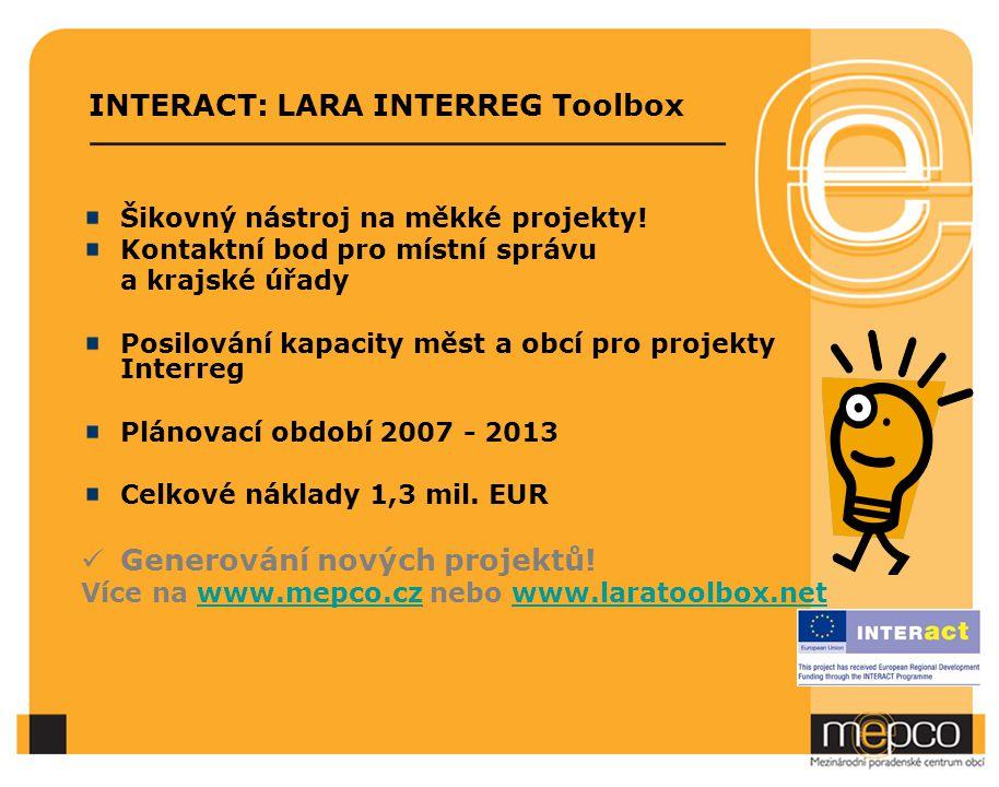 INTERACT: LARA INTERREG Toolbox Šikovný nástroj na měkké projekty.