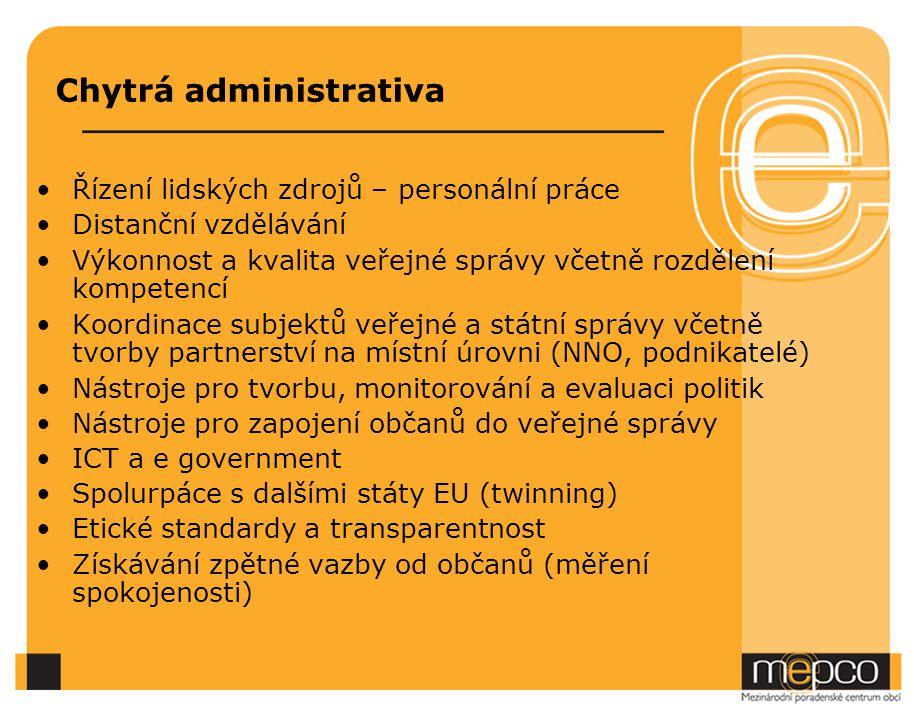 Chytrá administrativa Řízení lidských zdrojů – personální práce Distanční vzdělávání Výkonnost a kvalita veřejné správy včetně rozdělení kompetencí Koordinace subjektů veřejné a státní správy včetně tvorby partnerství na místní úrovni (NNO, podnikatelé) Nástroje pro tvorbu, monitorování a evaluaci politik Nástroje pro zapojení občanů do veřejné správy ICT a e government Spolurpáce s dalšími státy EU (twinning) Etické standardy a transparentnost Získávání zpětné vazby od občanů (měření spokojenosti)