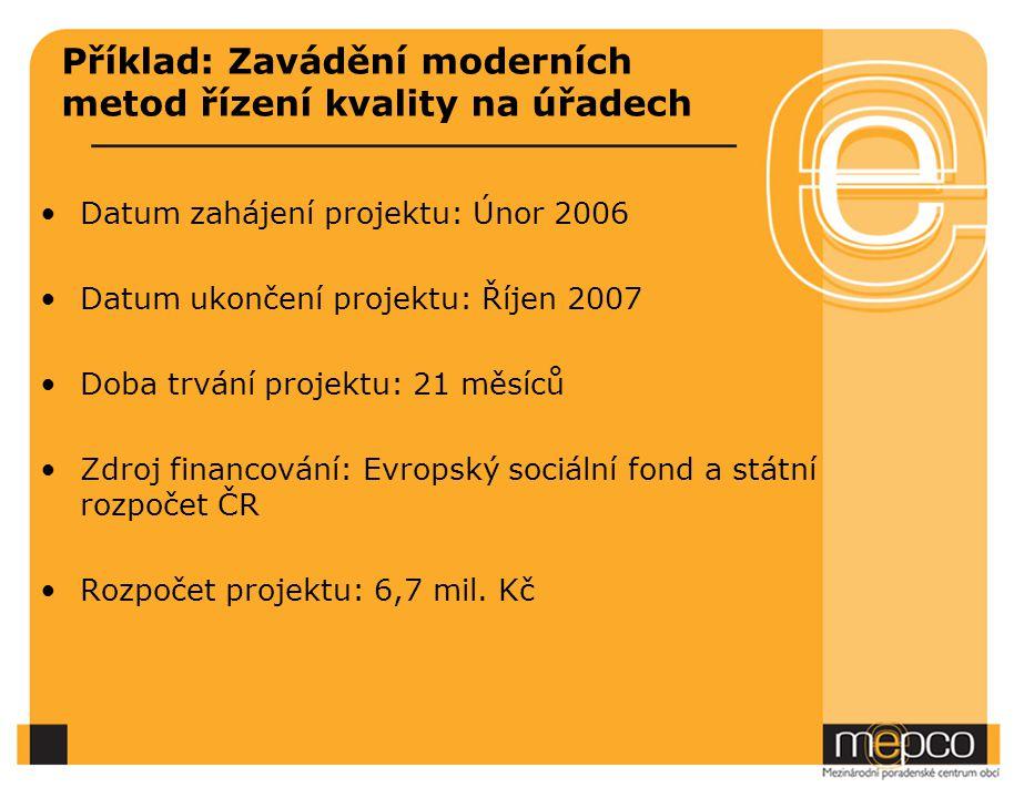 Příklad: Zavádění moderních metod řízení kvality na úřadech Datum zahájení projektu: Únor 2006 Datum ukončení projektu: Říjen 2007 Doba trvání projektu: 21 měsíců Zdroj financování: Evropský sociální fond a státní rozpočet ČR Rozpočet projektu: 6,7 mil.
