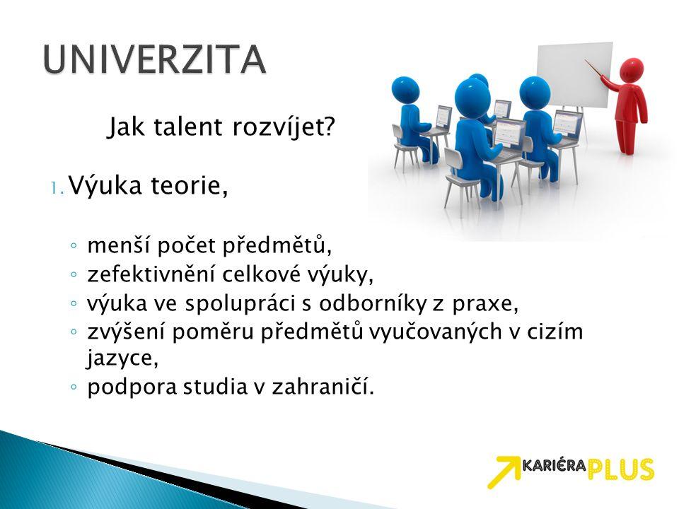 Jak talent rozvíjet? 1. Výuka teorie, ◦ menší počet předmětů, ◦ zefektivnění celkové výuky, ◦ výuka ve spolupráci s odborníky z praxe, ◦ zvýšení poměr