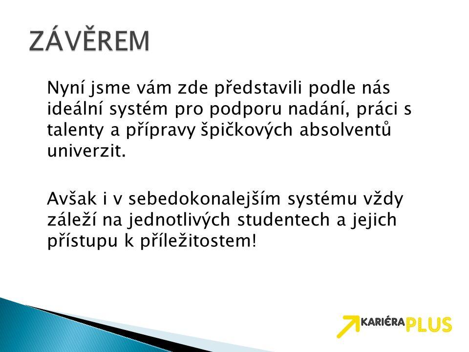 Nyní jsme vám zde představili podle nás ideální systém pro podporu nadání, práci s talenty a přípravy špičkových absolventů univerzit. Avšak i v sebed