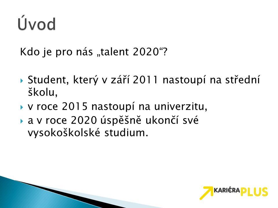 """Kdo je pro nás """"talent 2020""""?  Student, který v září 2011 nastoupí na střední školu,  v roce 2015 nastoupí na univerzitu,  a v roce 2020 úspěšně uk"""