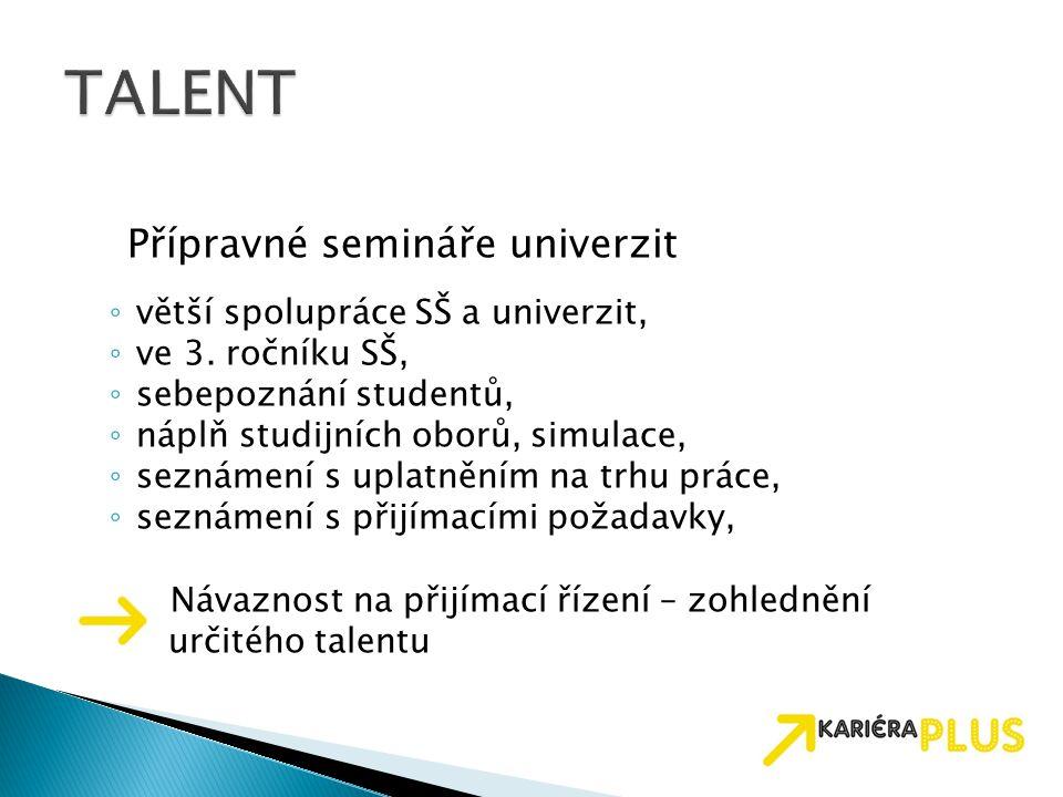 Přípravné semináře univerzit ◦ větší spolupráce SŠ a univerzit, ◦ ve 3.