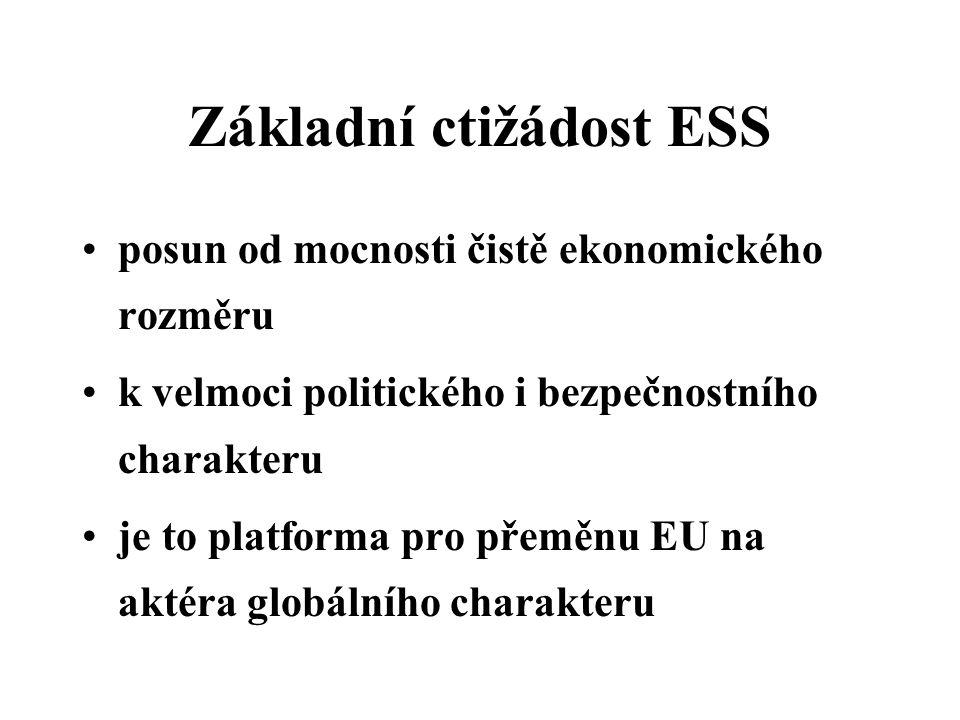 Základní ctižádost ESS posun od mocnosti čistě ekonomického rozměru k velmoci politického i bezpečnostního charakteru je to platforma pro přeměnu EU na aktéra globálního charakteru