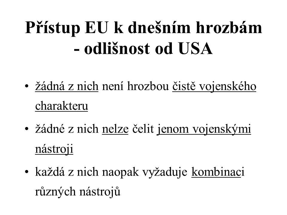 Přístup EU k dnešním hrozbám - odlišnost od USA žádná z nich není hrozbou čistě vojenského charakteru žádné z nich nelze čelit jenom vojenskými nástroji každá z nich naopak vyžaduje kombinaci různých nástrojů