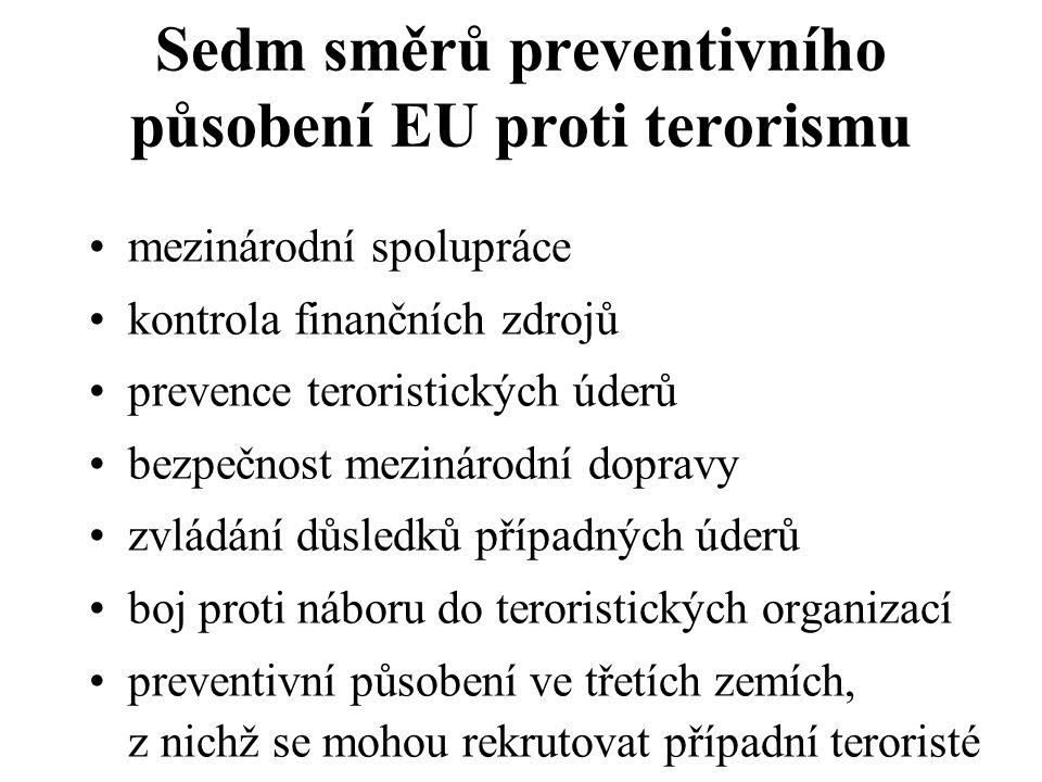 Sedm směrů preventivního působení EU proti terorismu mezinárodní spolupráce kontrola finančních zdrojů prevence teroristických úderů bezpečnost mezinárodní dopravy zvládání důsledků případných úderů boj proti náboru do teroristických organizací preventivní působení ve třetích zemích, z nichž se mohou rekrutovat případní teroristé