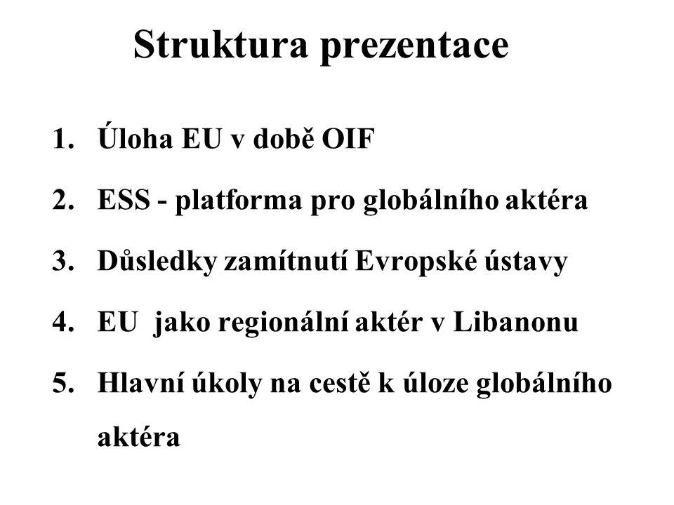 Struktura prezentace 1.Úloha EU v době OIF 2.ESS - platforma pro globálního aktéra 3.Důsledky zamítnutí Evropské ústavy 4.EU jako regionální aktér v Libanonu 5.Hlavní úkoly na cestě k úloze globálního aktéra