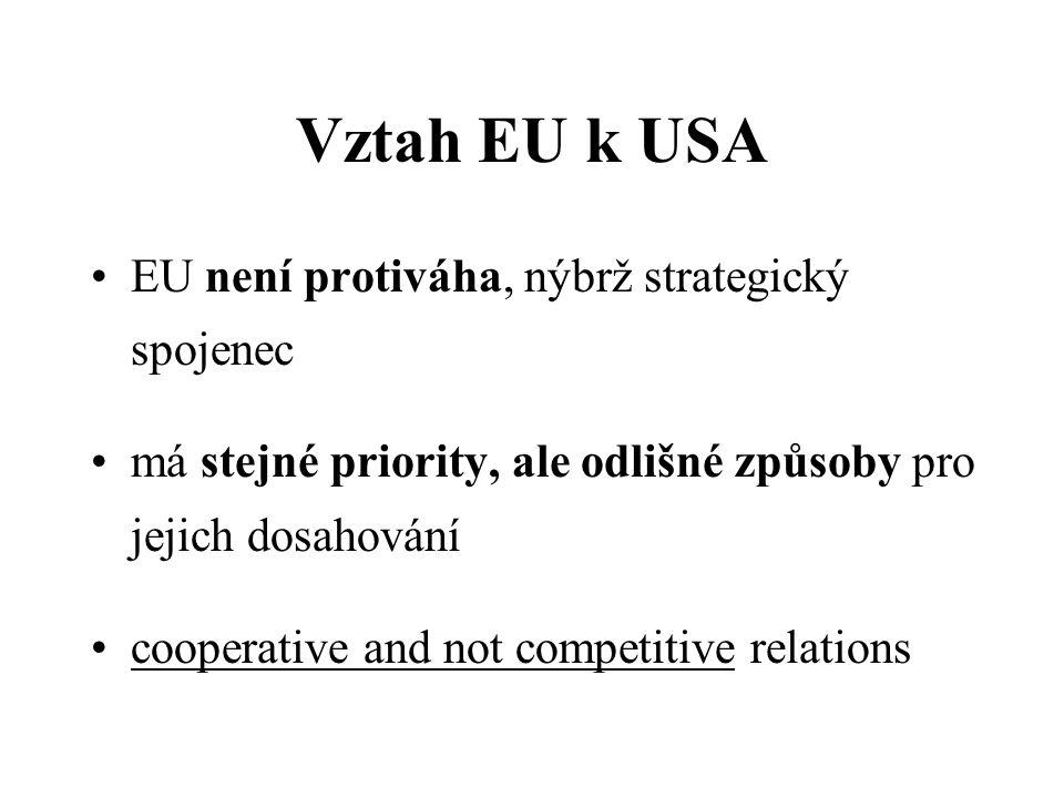 Vztah EU k USA EU není protiváha, nýbrž strategický spojenec má stejné priority, ale odlišné způsoby pro jejich dosahování cooperative and not competitive relations