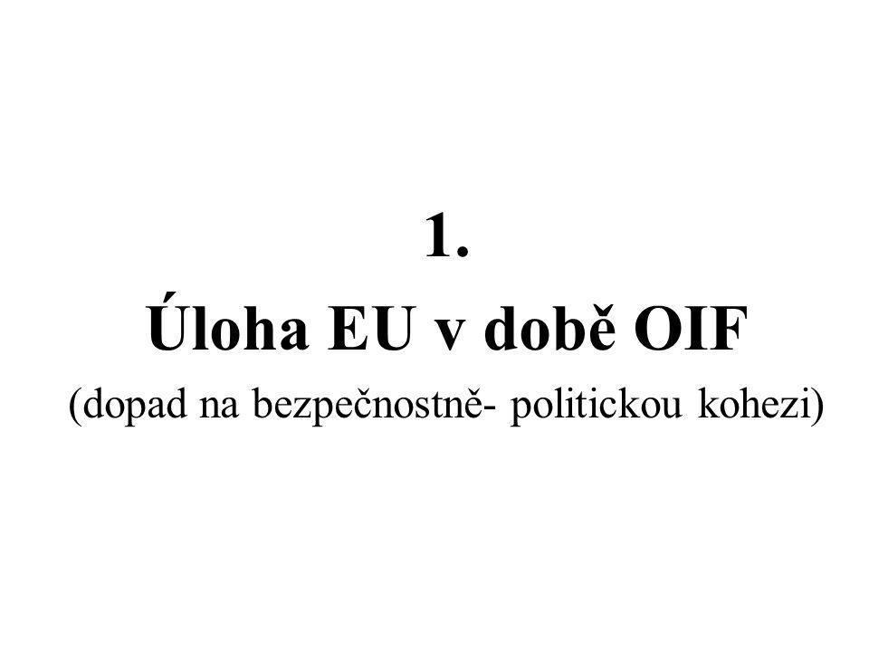 4 druhy evropských reakcí na OIF 1.skupina: plná politická i vojenská podpora (VB, Španělsko, Polsko) 2.