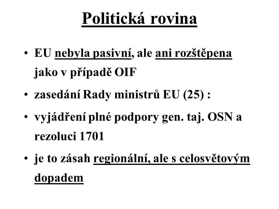 Politická rovina EU nebyla pasivní, ale ani rozštěpena jako v případě OIF zasedání Rady ministrů EU (25) : vyjádření plné podpory gen.
