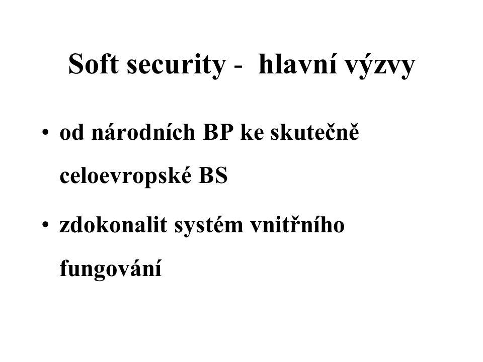 Soft security - hlavní výzvy od národních BP ke skutečně celoevropské BS zdokonalit systém vnitřního fungování