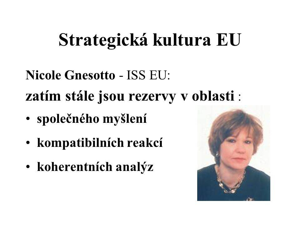 Strategická kultura EU Nicole Gnesotto - ISS EU: zatím stále jsou rezervy v oblasti : společného myšlení kompatibilních reakcí koherentních analýz