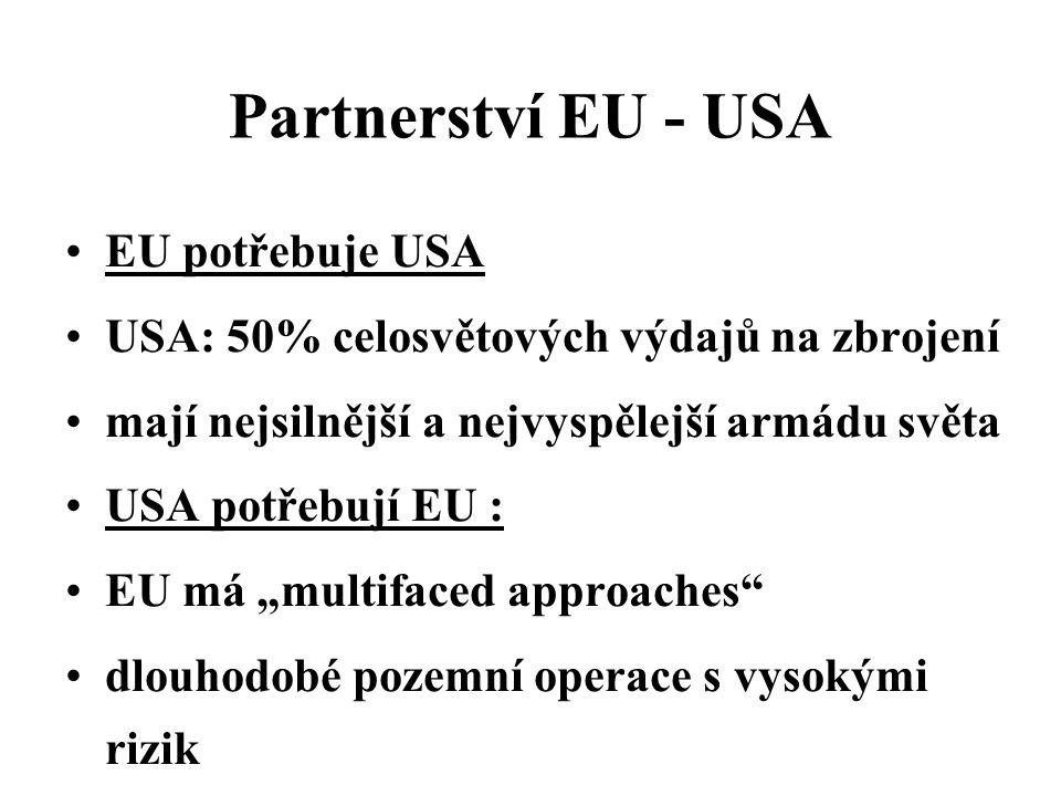 """Partnerství EU - USA EU potřebuje USA USA: 50% celosvětových výdajů na zbrojení mají nejsilnější a nejvyspělejší armádu světa USA potřebují EU : EU má """"multifaced approaches dlouhodobé pozemní operace s vysokými rizik"""