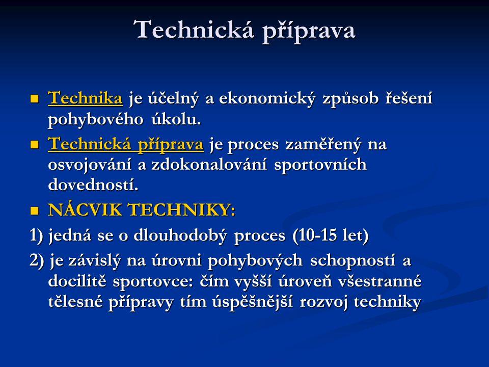 Technická příprava Technika je účelný a ekonomický způsob řešení pohybového úkolu. Technika je účelný a ekonomický způsob řešení pohybového úkolu. Tec