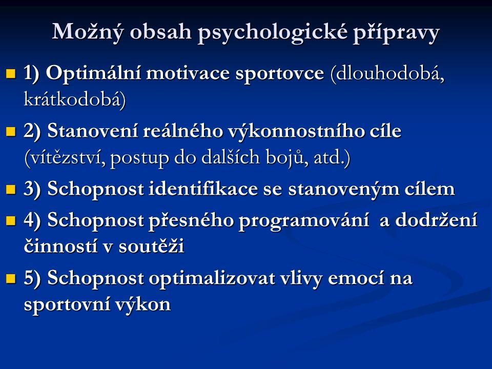 Možný obsah psychologické přípravy 1) Optimální motivace sportovce (dlouhodobá, krátkodobá) 1) Optimální motivace sportovce (dlouhodobá, krátkodobá) 2