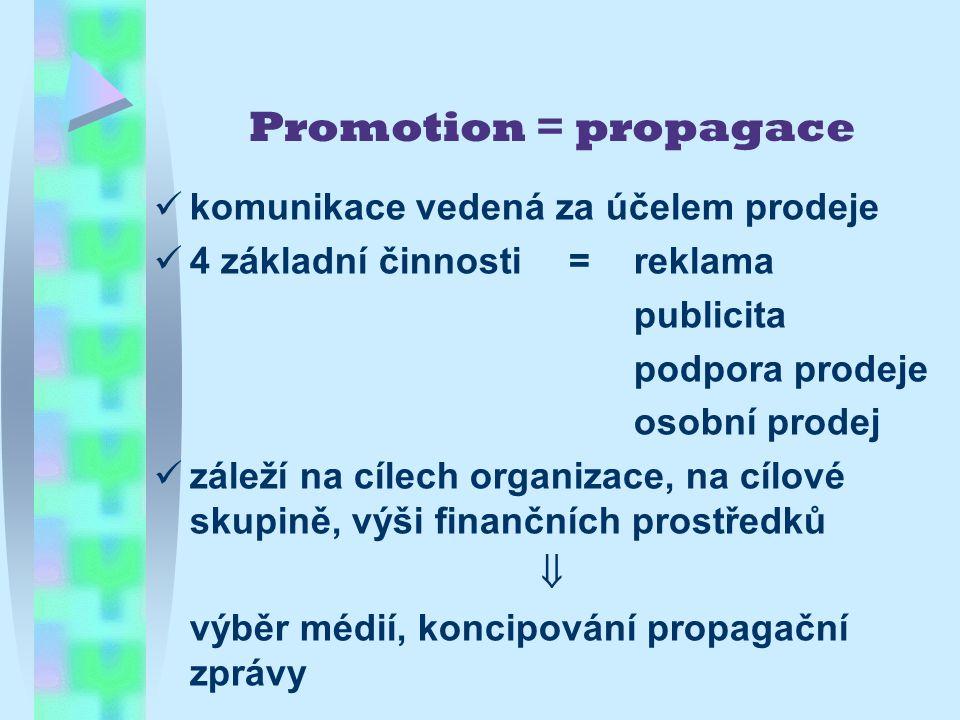 Promotion = propagace komunikace vedená za účelem prodeje 4 základní činnosti = reklama publicita podpora prodeje osobní prodej záleží na cílech organizace, na cílové skupině, výši finančních prostředků  výběr médií, koncipování propagační zprávy