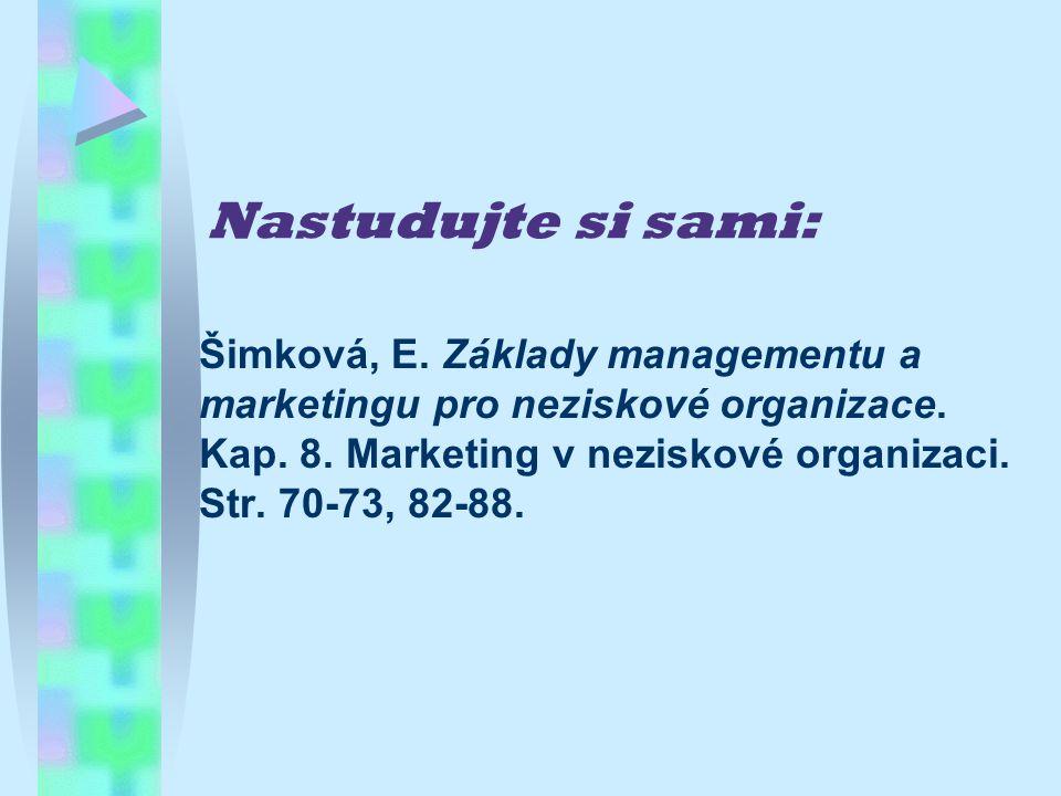 Nastudujte si sami: Šimková, E. Základy managementu a marketingu pro neziskové organizace.