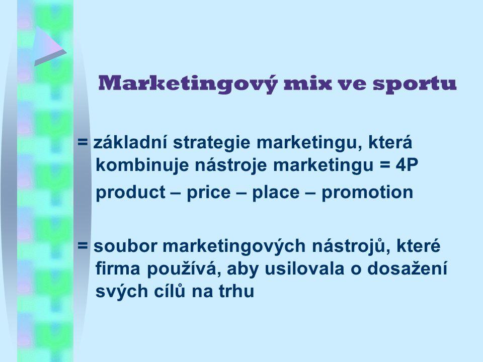Marketingový mix ve sportu = základní strategie marketingu, která kombinuje nástroje marketingu = 4P product – price – place – promotion = soubor marketingových nástrojů, které firma používá, aby usilovala o dosažení svých cílů na trhu