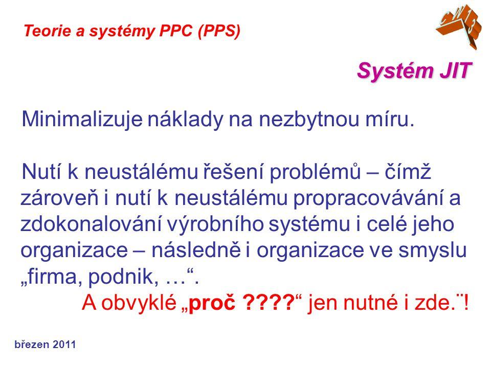 březen 2011 Systém JIT Teorie a systémy PPC (PPS) Minimalizuje náklady na nezbytnou míru.