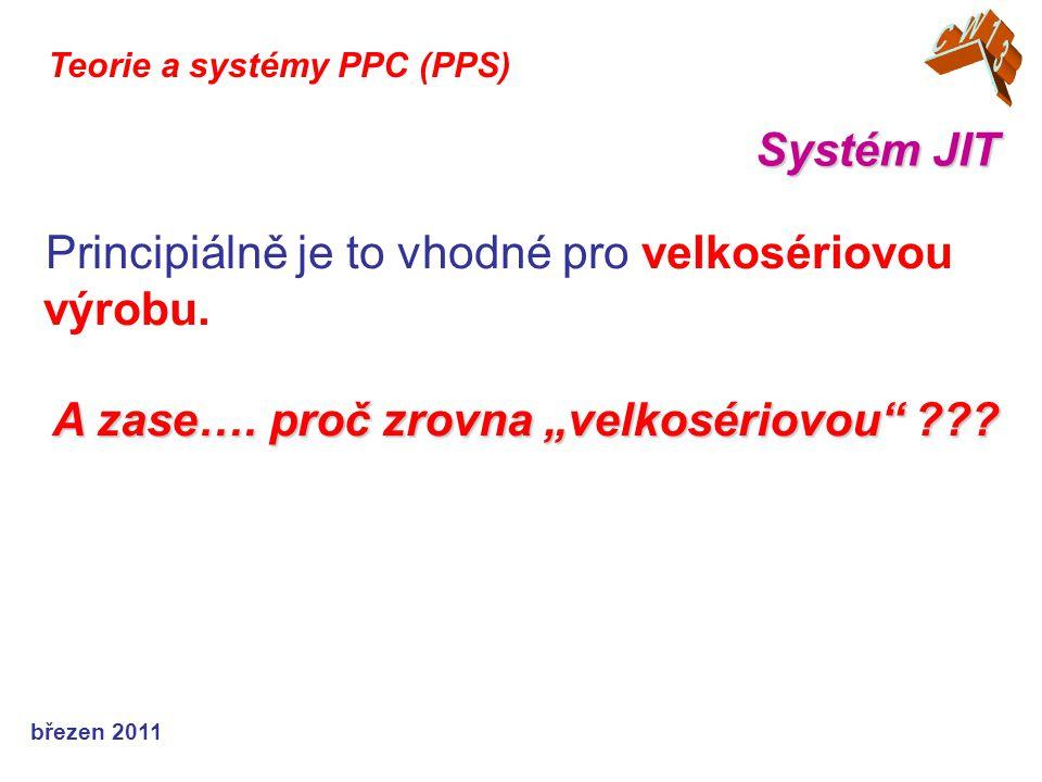 březen 2011 Systém JIT Teorie a systémy PPC (PPS) Principiálně je to vhodné pro velkosériovou výrobu.