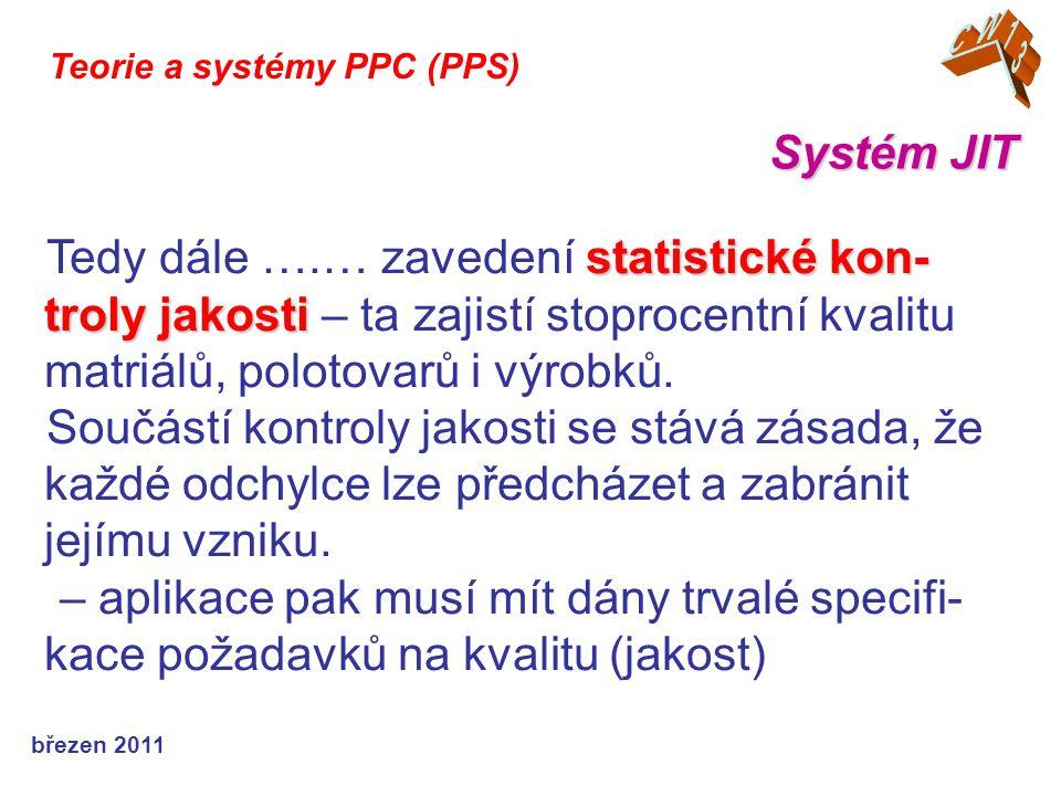 březen 2011 Systém JIT Teorie a systémy PPC (PPS) statistické kon- troly jakosti Tedy dále ….… zavedení statistické kon- troly jakosti – ta zajistí stoprocentní kvalitu matriálů, polotovarů i výrobků.