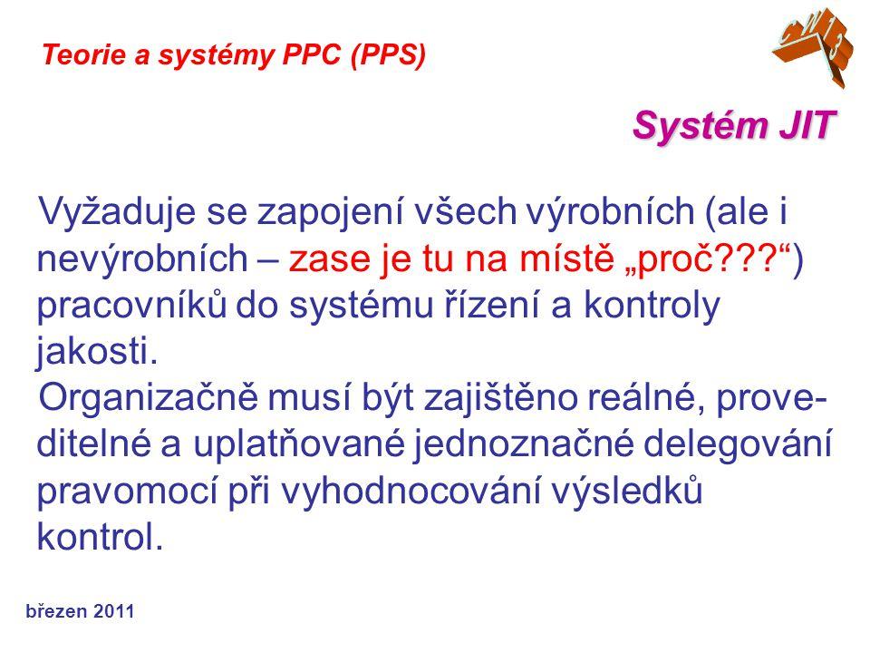 """březen 2011 Systém JIT Teorie a systémy PPC (PPS) Vyžaduje se zapojení všech výrobních (ale i nevýrobních – zase je tu na místě """"proč ) pracovníků do systému řízení a kontroly jakosti."""