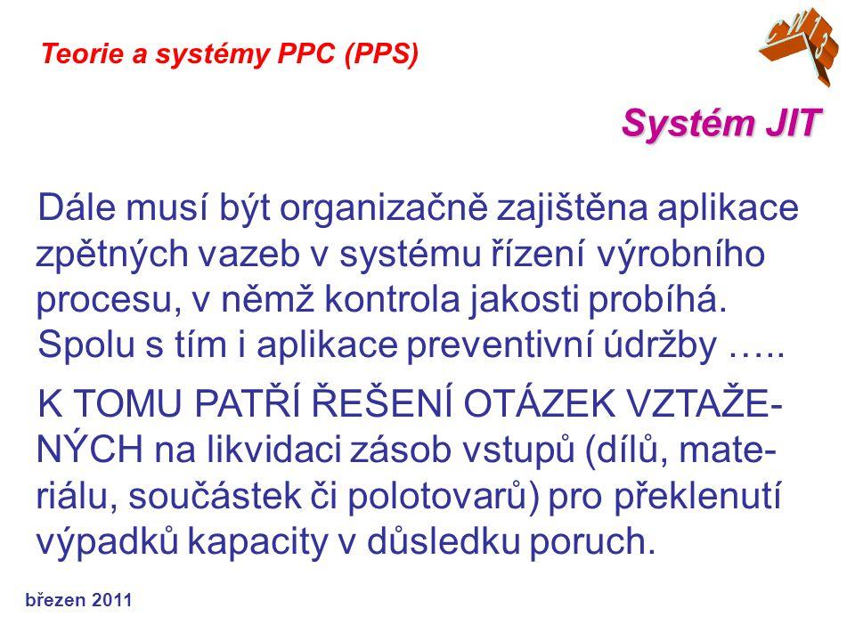 březen 2011 Systém JIT Teorie a systémy PPC (PPS) Dále musí být organizačně zajištěna aplikace zpětných vazeb v systému řízení výrobního procesu, v němž kontrola jakosti probíhá.