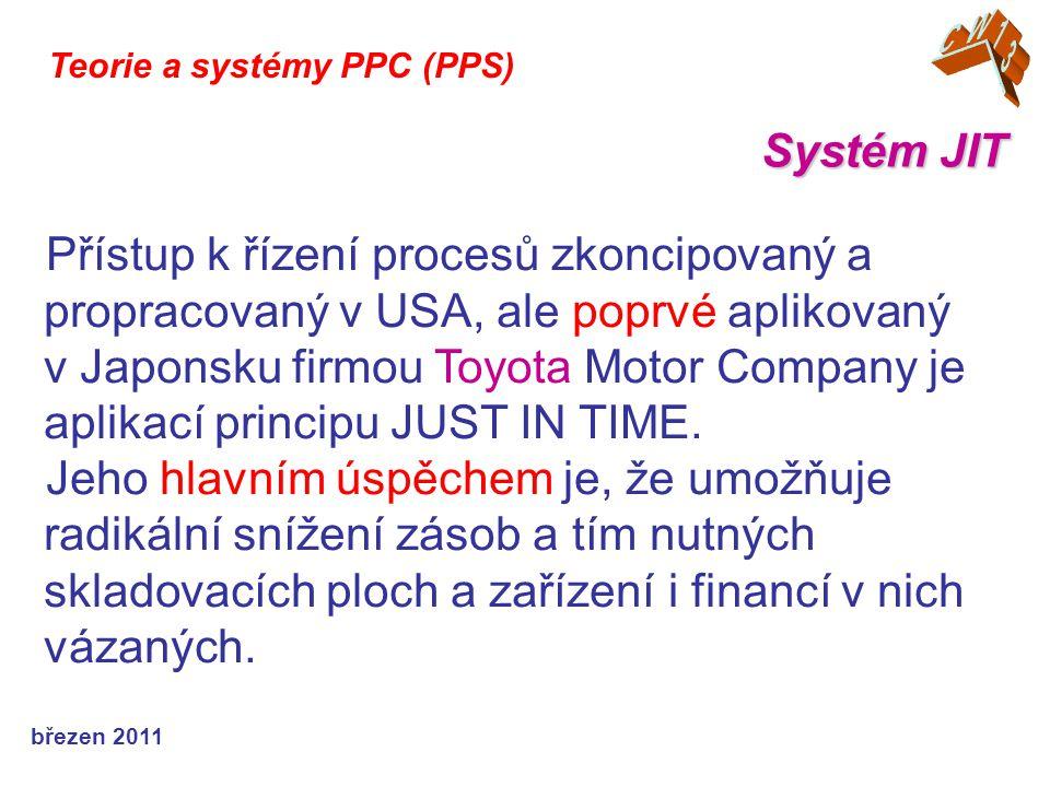 březen 2011 Systém JIT Teorie a systémy PPC (PPS) Přístup k řízení procesů zkoncipovaný a propracovaný v USA, ale poprvé aplikovaný v Japonsku firmou Toyota Motor Company je aplikací principu JUST IN TIME.