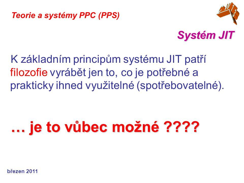 """březen 2011 Systém JIT Teorie a systémy PPC (PPS) Dodavatelé si do cen započítávají jisté zvýše- ní nákladů, které souvisí s jejich adaptabilitou a schopností dodávat """"právě včas (takže pružnost systému je pak uplatňována u nich a je na nich – a to i """"právně a """"finančně – postihy, ….)."""