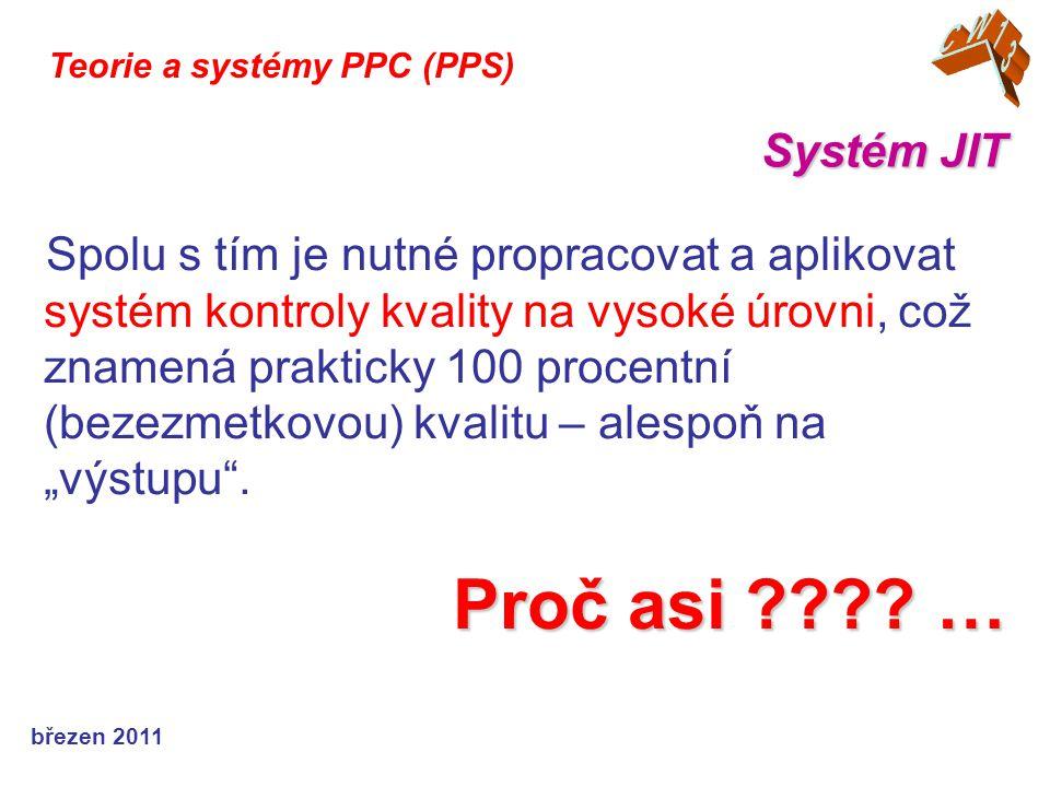 """březen 2011 Systém JIT Teorie a systémy PPC (PPS) Spolu s tím je nutné propracovat a aplikovat systém kontroly kvality na vysoké úrovni, což znamená prakticky 100 procentní (bezezmetkovou) kvalitu – alespoň na """"výstupu ."""