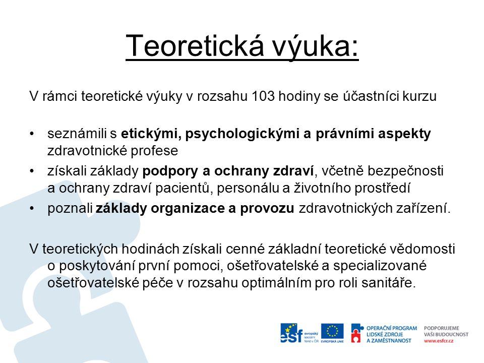 Teoretická výuka: V rámci teoretické výuky v rozsahu 103 hodiny se účastníci kurzu seznámili s etickými, psychologickými a právními aspekty zdravotnic