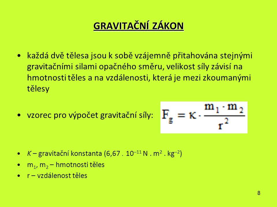 8 GRAVITAČNÍ ZÁKON každá dvě tělesa jsou k sobě vzájemně přitahována stejnými gravitačními silami opačného směru, velikost síly závisí na hmotnosti tě