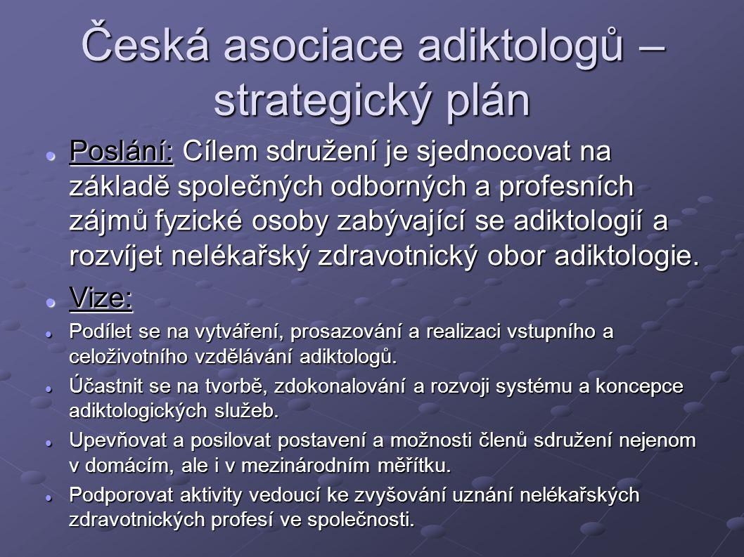 Česká asociace adiktologů – strategický plán Poslání: Cílem sdružení je sjednocovat na základě společných odborných a profesních zájmů fyzické osoby z
