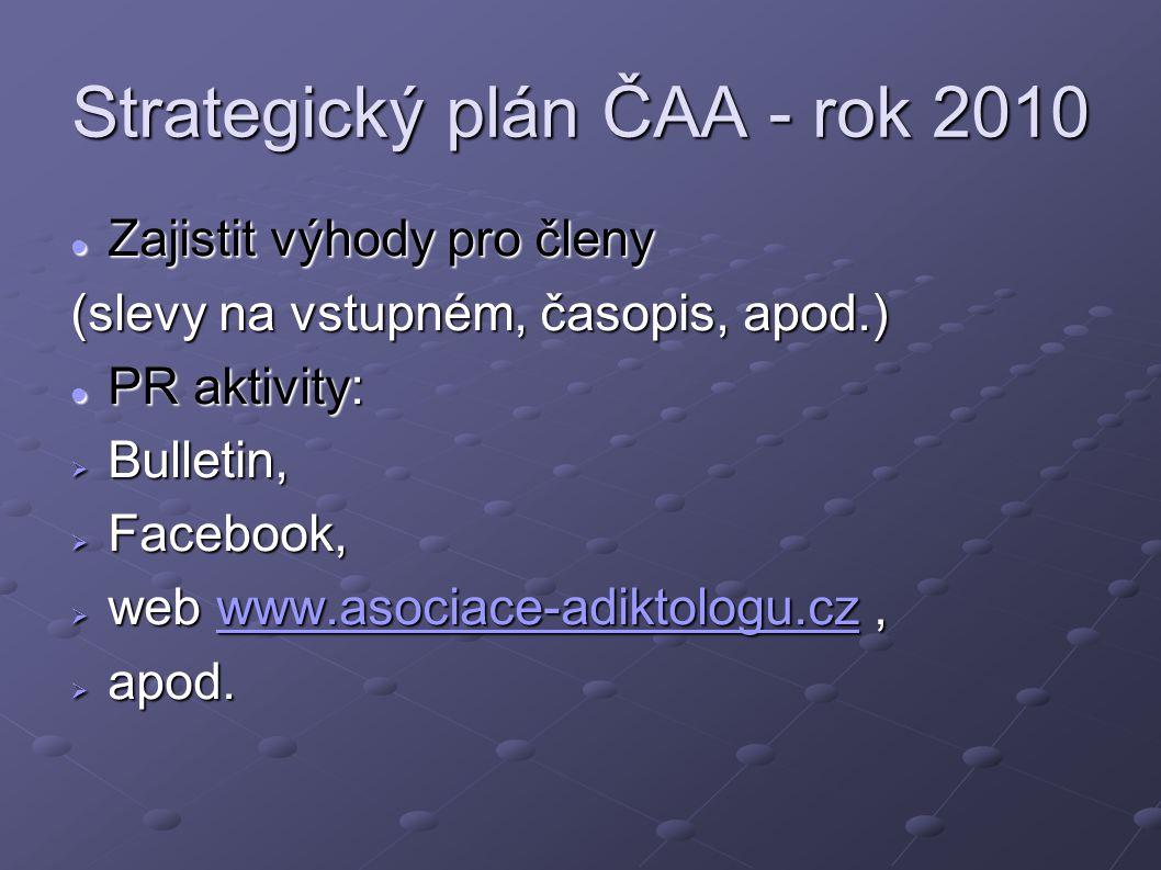 Strategický plán ČAA - rok 2010 Zajistit výhody pro členy Zajistit výhody pro členy (slevy na vstupném, časopis, apod.) PR aktivity: PR aktivity:  Bu