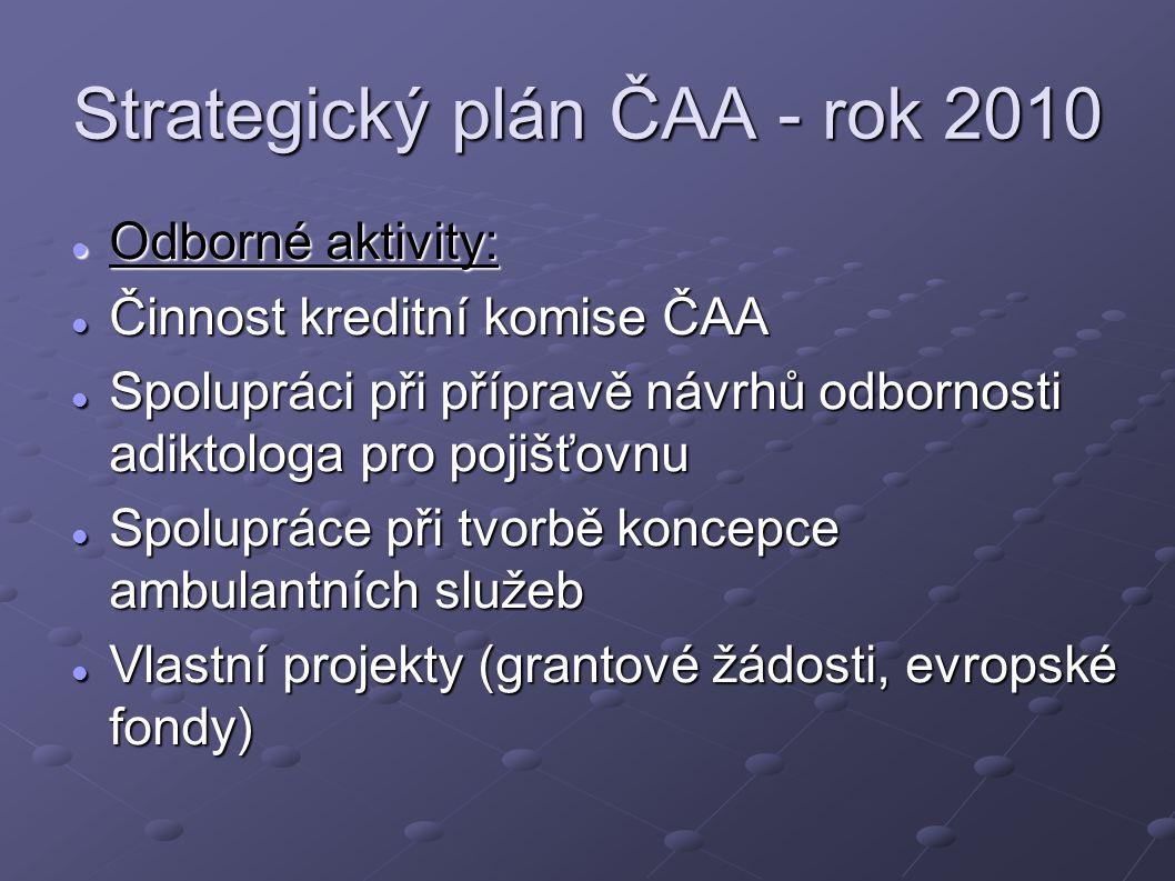 Strategický plán ČAA - rok 2010 Odborné aktivity: Odborné aktivity: Činnost kreditní komise ČAA Činnost kreditní komise ČAA Spolupráci při přípravě ná