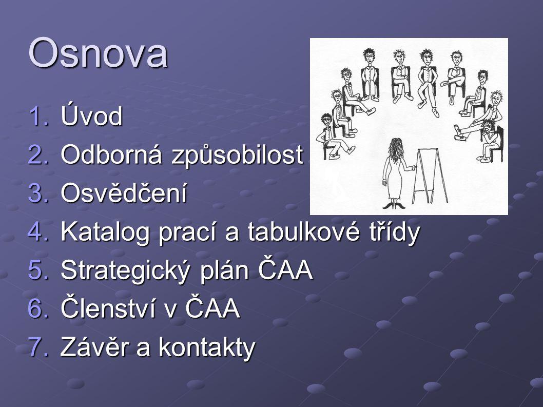 Osnova 1.Úvod 2.Odborná způsobilost 3.Osvědčení 4.Katalog prací a tabulkové třídy 5.Strategický plán ČAA 6.Členství v ČAA 7.Závěr a kontakty