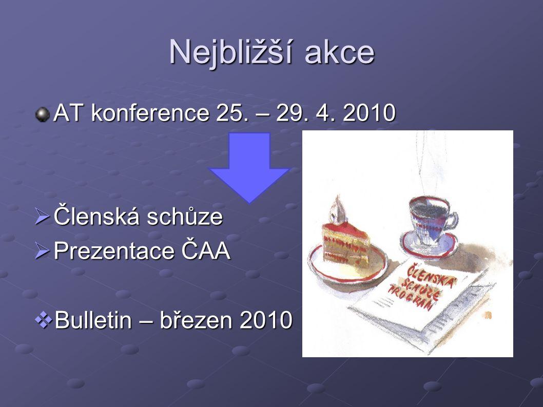 Nejbližší akce AT konference 25. – 29. 4. 2010  Členská schůze  Prezentace ČAA  Bulletin – březen 2010