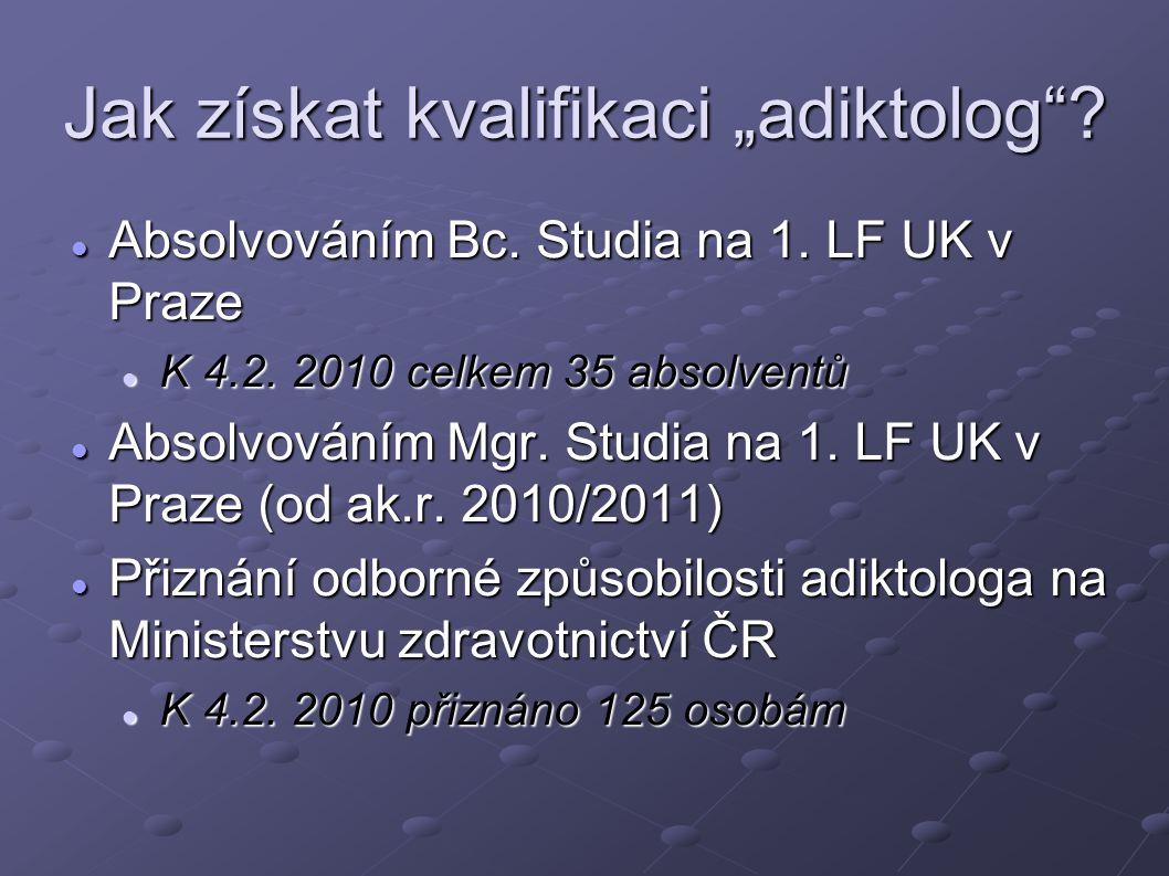 """Jak získat kvalifikaci """"adiktolog""""? Absolvováním Bc. Studia na 1. LF UK v Praze Absolvováním Bc. Studia na 1. LF UK v Praze K 4.2. 2010 celkem 35 abso"""