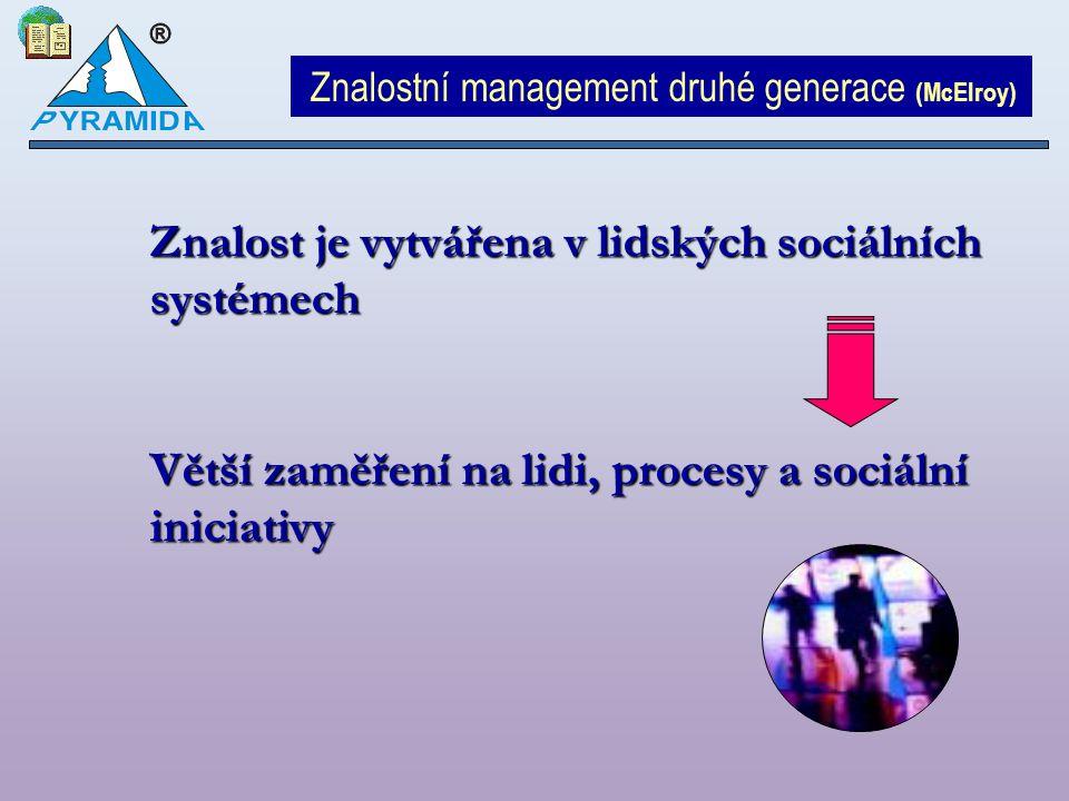 Znalostní management druhé generace (McElroy) Znalost je vytvářena v lidských sociálních systémech Větší zaměření na lidi, procesy a sociální iniciati