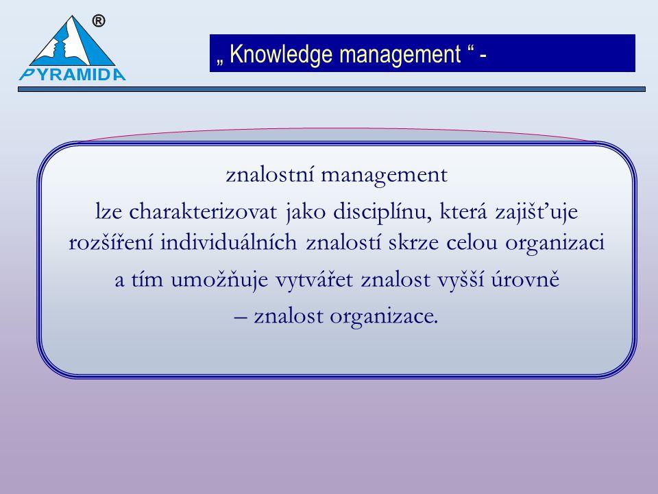 Příklady aktivit znalostního managementu: Motivační program Jmenování znalostních manažerů Vytvoření internetového znalostního portálu Tvorba komunit společných zkušeností Zavedení principu e-learningu Zavedení expertního nebo znalostního systému Identifikace kulturních a sociálních překážek