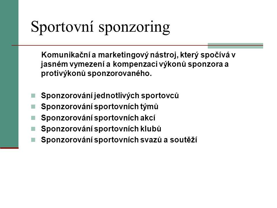 Sportovní sponzoring Komunikační a marketingový nástroj, který spočívá v jasném vymezení a kompenzaci výkonů sponzora a protivýkonů sponzorovaného. Sp