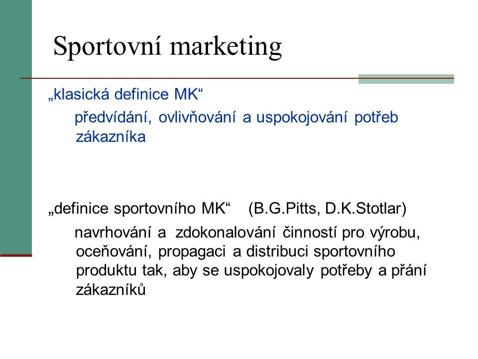 """Sportovní marketing """"klasická definice MK"""" předvídání, ovlivňování a uspokojování potřeb zákazníka """" definice sportovního MK"""" (B.G.Pitts, D.K.Stotlar)"""
