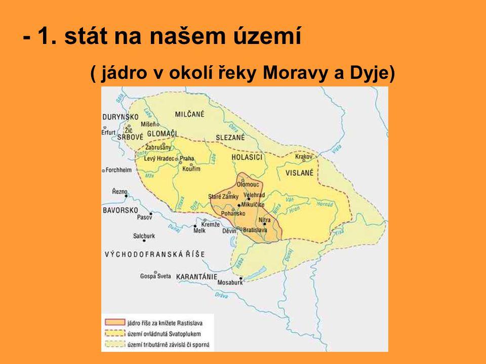- za knížete Svatopluka se rozšířilo území Velké Moravy, pod její vliv se dostalo i vznikající české knížectví…vztahy s Bořivojem byly velmi dobré - stavěly se paláce a kostely na hradištích ze dřeva i z kamene Rekonstrukce kostela