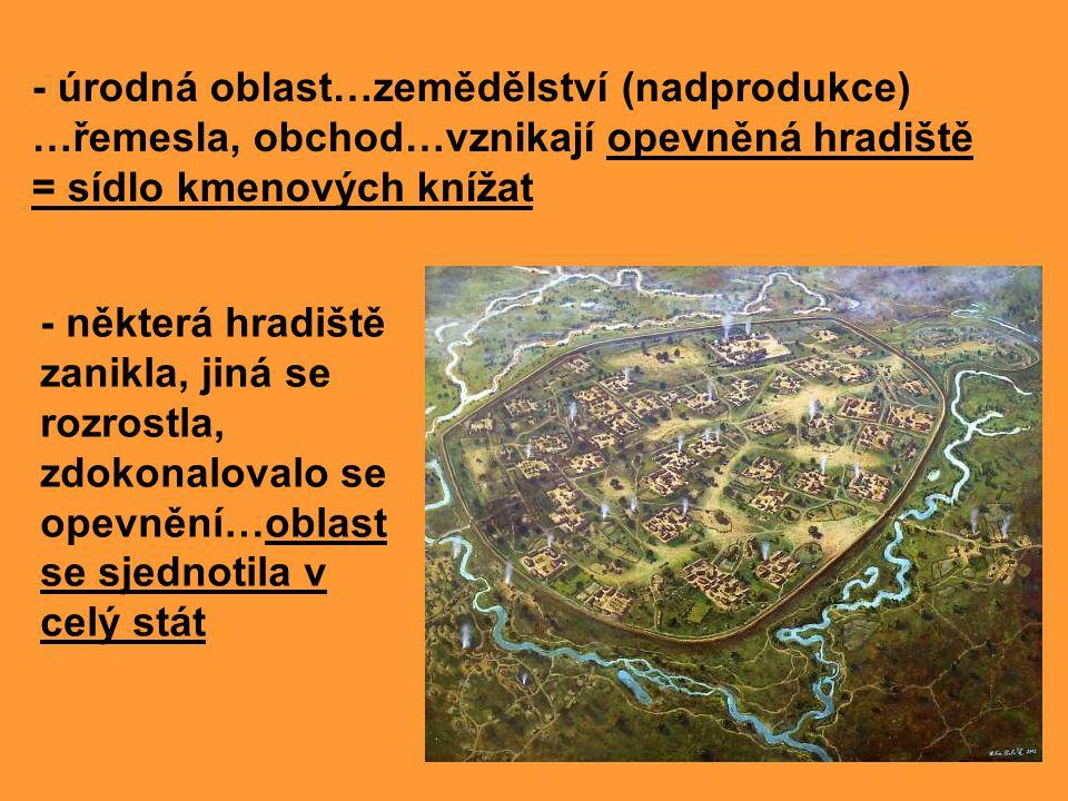 - úrodná oblast…zemědělství (nadprodukce) …řemesla, obchod…vznikají opevněná hradiště = sídlo kmenových knížat - některá hradiště zanikla, jiná se roz