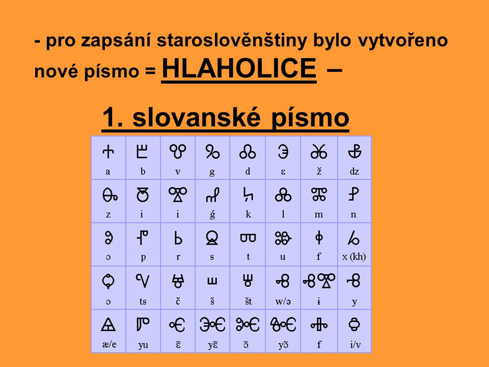 - ukázka hlaholice - řečtina nemá např.