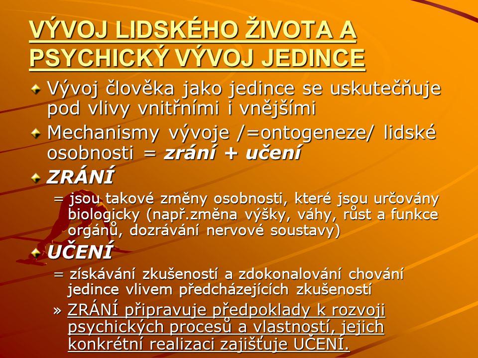 VÝVOJ LIDSKÉHO ŽIVOTA A PSYCHICKÝ VÝVOJ JEDINCE Vývoj člověka jako jedince se uskutečňuje pod vlivy vnitřními i vnějšími Mechanismy vývoje /=ontogeneze/ lidské osobnosti = zrání + učení ZRÁNÍ = jsou takové změny osobnosti, které jsou určovány biologicky (např.změna výšky, váhy, růst a funkce orgánů, dozrávání nervové soustavy) UČENÍ = získávání zkušeností a zdokonalování chování jedince vlivem předcházejících zkušeností » ZRÁNÍ připravuje předpoklady k rozvoji psychických procesů a vlastností, jejich konkrétní realizaci zajišťuje UČENÍ.