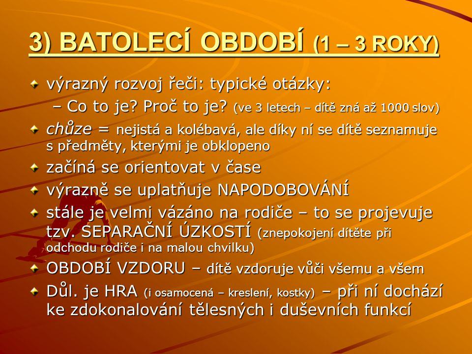 3) BATOLECÍ OBDOBÍ (1 – 3 ROKY) výrazný rozvoj řeči: typické otázky: –Co to je.