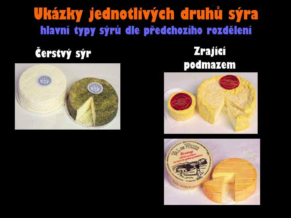 Ukázky jednotlivých druhů sýra hlavní typy sýrů dle předchozího rozdělení Čerstvý sýr Zrající podmazem